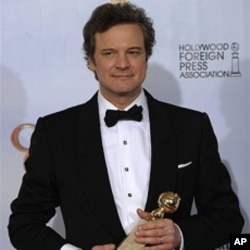 "Colin Firth holds the award for Best Performance by an Actor in a Motion Picture - Drama for his role in ""The King's Speech,"" at the Golden Globe Awards 16 Jan. 2011, in Beverly Hills, California."