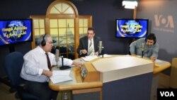 VOA Kurdish broadcasters Haider Karim, Simko Aziz, and Robin Reshvan.
