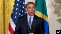 El presidente Barack Obama durante una conferencia de prensa conjunta con la presidenta de Brasil, Dilma Rousseff, el martes, 30 de junio de 2015, en la Casa Blanca.