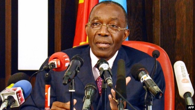 Democratic Republic of Congo's Minister for Foreign Affairs Raymond Tshibanda speaks during a press conference at the Foreign Affairs Ministry in the Gombe district of Kinshasa, July 19, 2012.