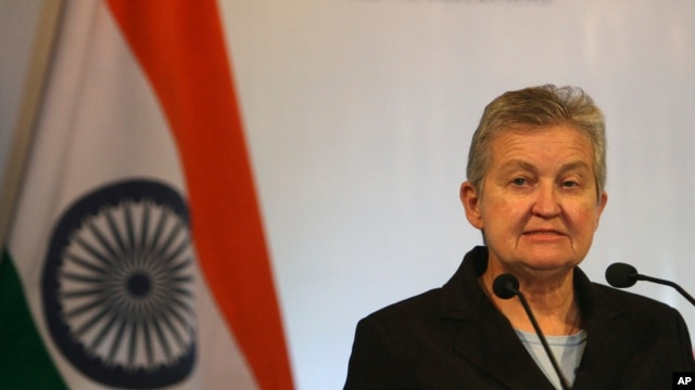FILE - U.S. Ambassador to India Nancy Powell.