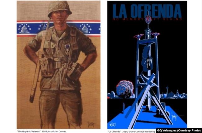 Hai tác phẩm nghệ thuật của Jesse Trevino vẽ năm 1984 (trái) và 2014 (phải). (Ảnh GQ Velasquez)