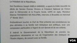 Communiqué de la présidence de la RDC, 2 février 2017.