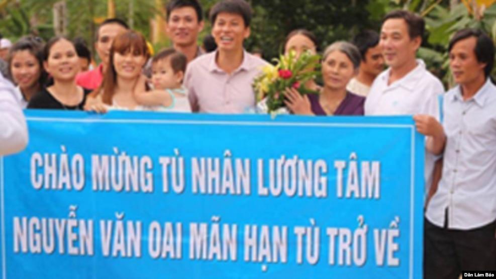 Tù nhân lương tâm Nguyễn Văn Oai được tự do ngày 2 tháng 8 năm 2015.