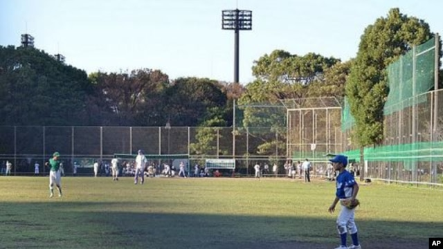 Boys playing baseball adjacent to shrubbery where a high level of radioactive cesium has been detected, Edogawa, Japan, October 15, 2011.