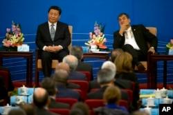Chủ tịch Tập Cận Bình và Tổng thống Ecuador Rafael Correa tham dự lễ khai mạc cuộc họp hai ngày giữa Trung Quốc và các nước Châu Mỹ La Tinh và Caribe, được tổ chức tại Đại Sảnh đường Nhân dân ở Bắc Kinh, Trung Quốc, 8/1/2015.
