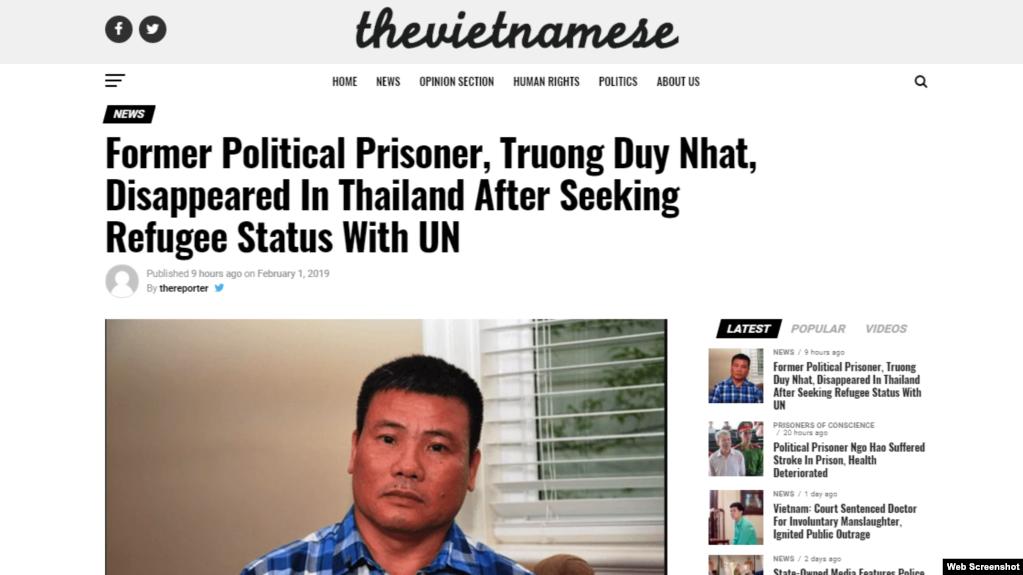 Trang The Vietnamese loan tin ông Trương Duy Nhất bị mất tích ở Thái Lan từ hôm 26/1/2019. Photo The Vietnamese.