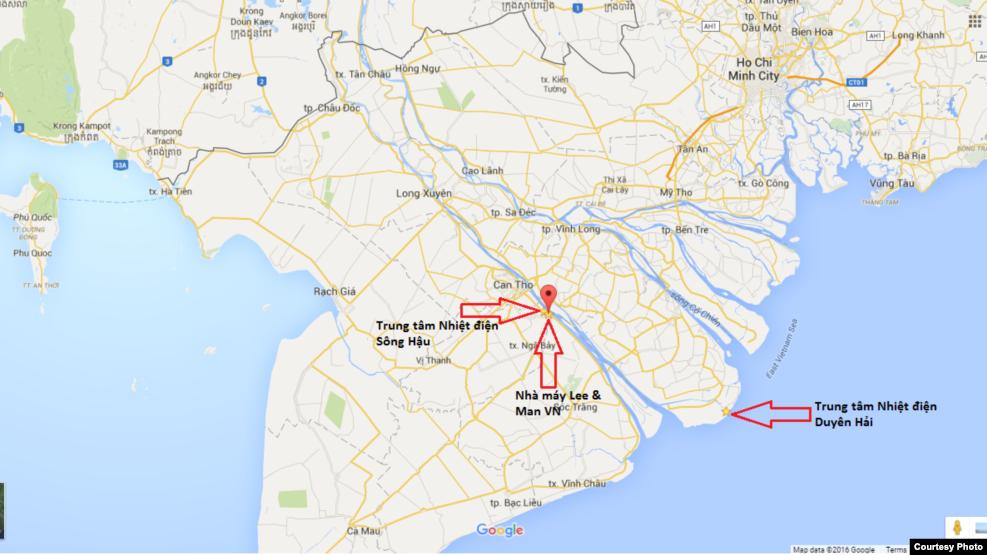 Vị trí 3 căn cứ quân sự trá hình của Trung Quốc trên bản đồ.