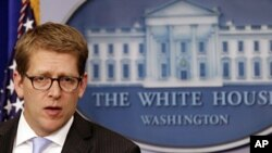 U.S. White House Press Secretary Jay Carney in the briefing room in Washington, January 18, 2012.
