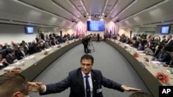 Vue générale sur la réunion de l'Organisation des pays exportateurs de pétrole, au siège social à Vienne, Autriche, le 30 novembre 2016.