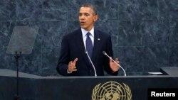 바락 오바마 미국 대통령이 24일 뉴욕에서 열린 유엔 총회에서 연설하고 있다.