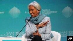 International Monetary Fund Managing Director Christine Lagarde speaks at the World Government Summit in Dubai, United Arab Emirates, Feb. 10, 2019.