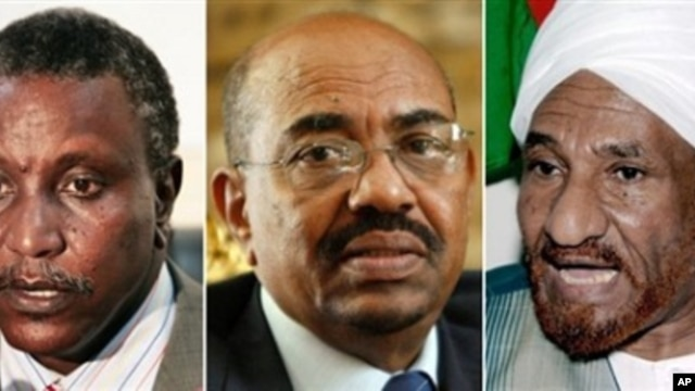 Leading candidates in Sudan's first multiparty presidential election, from left, Yasir Arman, Omar al-Beshir and Sadiq al-Mahdi (file photos)