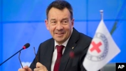 FILE - President of the International Committee of the Red Cross (ICRC) Peter Maurer speaks at a news conference in Moscow, Russia, Feb. 24, 2015.