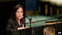 FILE - Hilda Heine, President of the Marshall Islands, addresses the United Nations at U.N. headquarters, April 21, 2016.