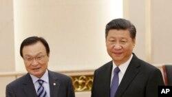 中國國家主席習近平2017年5月19日在北京人民大會堂會見韓國總統特使李海瓚