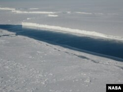 Ice front of the ice shelf in front of Pine Island Glacier, a major glacier system of West Antarctica.