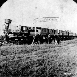 Union Pacific Railroad officials have their picture taken in the Nebraska Territory in 1866 during railway construction