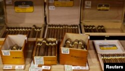 Cuban cigars for sale are on display at a hotel in Havana, Dec. 19, 2014.