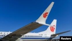 中国国航的波音737 MAX飞机停在北京的一个机场(路透社2019年3月11日)