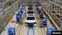 資料照:中國東風汽車集團在武漢的本田汽車生產線。 (2019年4月12日)
