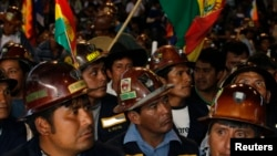 玻利維亞礦工7月4日集會支持莫拉雷斯。