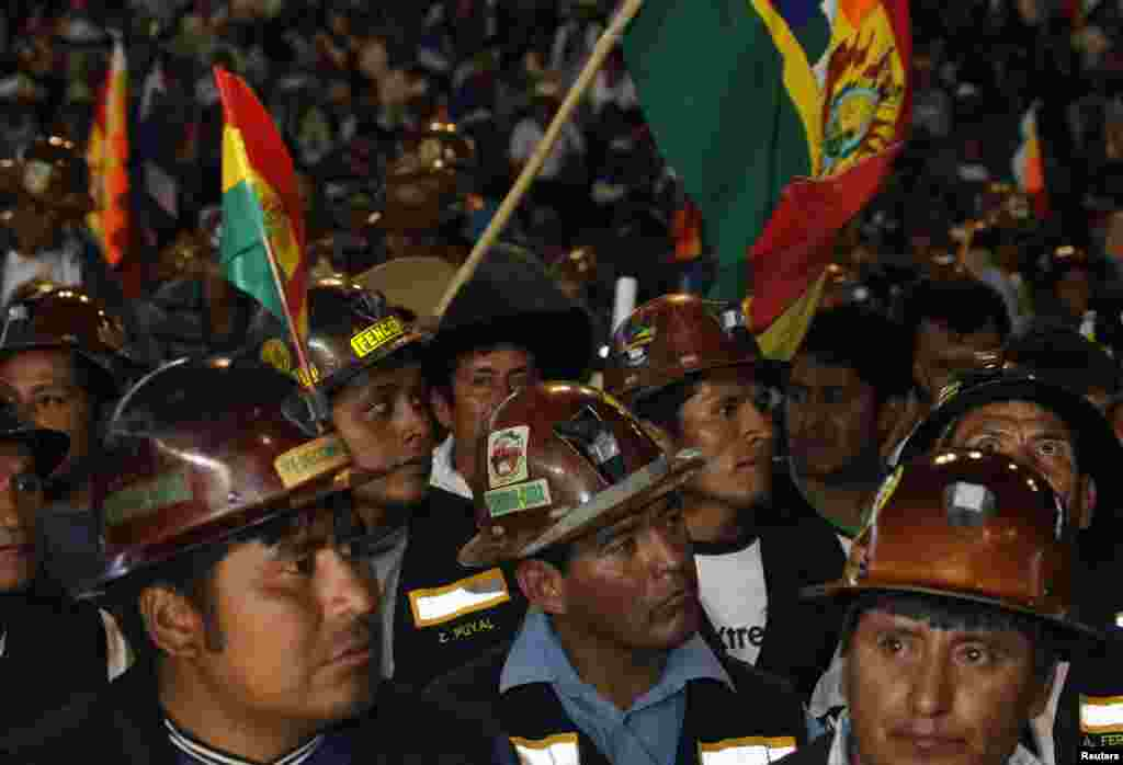 Bolivian mine workers attend a meeting to support President Evo Morales in Cochabamba, Bolivia, July 4, 2013.