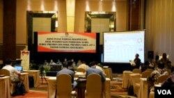Suasana rekapitulasi penghitungan suara Pilpres 2014 untuk wilayah Yogyakarta dimana pasangan calon presiden dan wakil presiden Joko Widodo- Jusuf Kalla unggul dengan perolehan suara mencapai 55,81 persen.