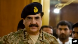 FILE - Pakistan's Army Chief General Raheel Sharif. General Sharif said Thursday Pakistan wants good relations with all its neighbors, but no one should mistake its collective resolve to defend itself.