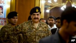 "FILE - Pakistan's army chief, General Raheel Sharif, pictured in Gwadar, Pakistan, in April, says ""a stable Afghanistan is in Pakistan's interest."""