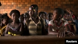 FILE - Students are seen in a classroom at a school in Bangui, capital of the Central African Republic.