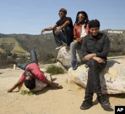 BLK JKS have toured the world with their music, including the United States where they visited Hollywood. L to R: Mpumi Mcata, Molefi Makananise,Tshepang Ramoba, Lindani Buthelezi
