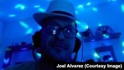 "University of Panama professor Joel Alvarez, during one of his virtual ""grammar party"" classes"