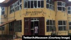 Des dégâts lors des émeutes pour l'électricité à Sangaredi, Boké, Guinée, 10 novembre 2017. (Twitter/AdNauseam)