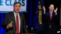 FILE - Senator Jeff Merkley, a Democrat from Oregon, speaks to supporters at the Democratic election night party in Portland Oregon, Nov. 4, 2014.