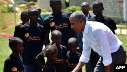L'ancien président des Etats-Unis Barack Obama à Kogelo, au Kenya, le 16 juillet 2018.