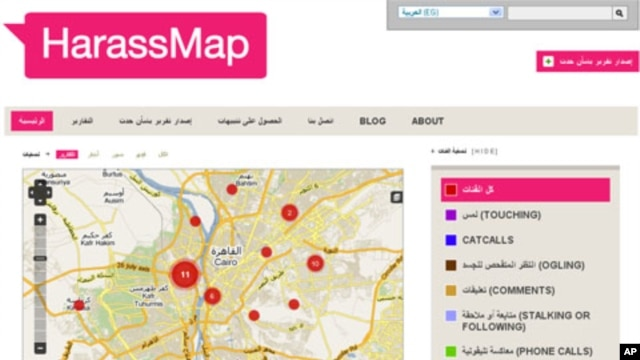 Screenshot of harassmap.org - a new website designed to help fight sexual harassment on the streets of Cairo
