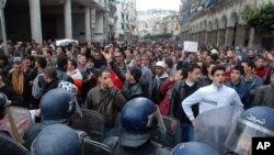 2월 12일 알제리의 수도 알제에서 반정부 시위대가 경찰과 대치중이다.