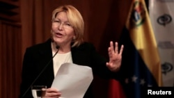 Venezuela's chief prosecutor Luisa Ortega Diaz gestures during a news conference in Caracas, July 31, 2017.