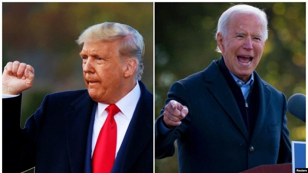 အၿပိဳင္အဆုိင္ မဲဆြယ္ေနၾကတဲ့ သမၼတ Donald Trump နဲ႔ ဒီမိုကရက္တစ္ပါတီ သမၼတေလာင္း Joe Biden. (ေအာက္တိုဘာ ၃၁၊ ၂၀၂၀)