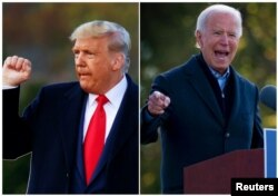Kolase Donald Trump di Pennsylvania dan Joe Biden di Michigan, 31 Oktober 2020. (Foto: Reuters)