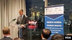 조너선 코언 유엔주재 미국 차석대사가 24일 뉴욕 유엔본부에서 열린 북한인권토론회에서 연설했다.