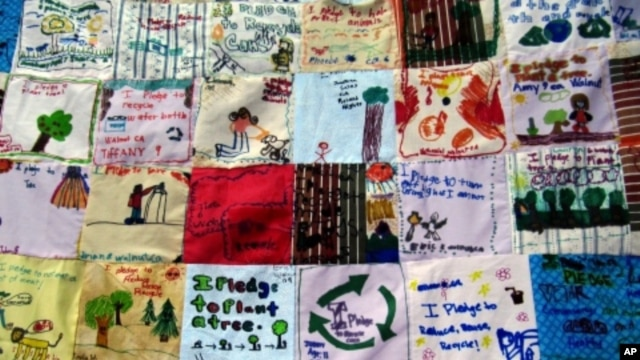 Children worldwide designed 'pledge patches,' depicting how they promise to work on environmental stewardship.