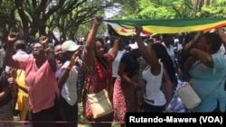 Warga Zimbabwe bergembira setelah Presiden Robert Mugabe mengundurkan diri, Selasa (21/11).