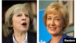 Bộ trưởng Bộ Nội vụ Theresa May (trái) và Bộ trưởng Năng lượng Andrea Leadsom (phải).