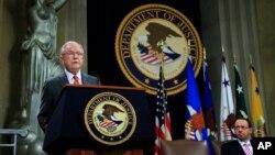 Le procureur général Jeff Sessions lors d'un sommet sur la liberté religieuse au ministère de la Justice, le 30 juillet 2018.