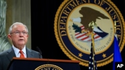 Attorney General Jeff Sessions speaks during a Religious Liberty Summit at the Department of Justice, July 30, 2018.