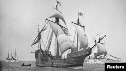 크리스토퍼 콜럼버스가 미주 대륙을 발견할 때 타고 갔던 '산타마리아호'의 복제 선박. 1892년 경 사진으로 현재 미국 의회 도서관에 소장되어 있다. (자료사진)