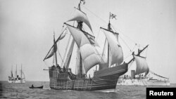 크리스토퍼 콜럼버스 미주 대륙을 발견할 때 타고 있던 '산타마리아호'의 1892년 경 사진. (자료사진)