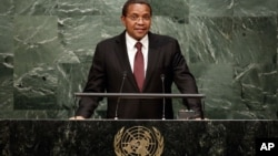 FILE - Tanzania's President Jakaya Mrisho Kikwete addresses the 70th session of the United Nations General Assembly, at U.N. Headquarters, Sept. 29, 2015.
